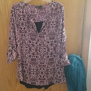 Rock & Republic black and purple tunic